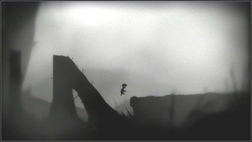 Ostatni skok, po którym znajdziemy się na ziemi wykonujemy podczas ześlizgiwania się po pochylonej kłodzie [1] - Rozdział 7 - Opis przejścia - Limbo - poradnik do gry