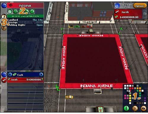 #1 - Mamy tu bardzo ciekawą minimapę , pokazuje ona nie tylko wszystkie osiedla Monopoly City ale i wskazuje, które z nich są wykupione przez graczy - Interface - Block View - Monopoly Tycoon - poradnik do gry
