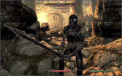 Po dotarciu do o�nie�onego mostu pokonaj pojedynczego draugra i rozwa� dodatkowo zeskoczenie na sam d� celem zbadania zamkni�tego kufra - Wyprawa do Czarnyg�azu (2) - Czarnyg�az - The Elder Scrolls V: Skyrim - g��wny w�tek fabularny - poradnik do gry