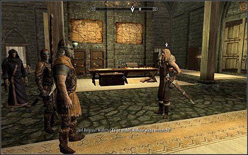 Biegnij za Irileth, wybieraj�c schody prowadz�ce do miejsca, w kt�rym przebywa jarl Balgruuf (powy�szy screen) - Spotkanie si� z jarlem - Budzenie smoka - The Elder Scrolls V: Skyrim - g��wny w�tek fabularny - poradnik do gry