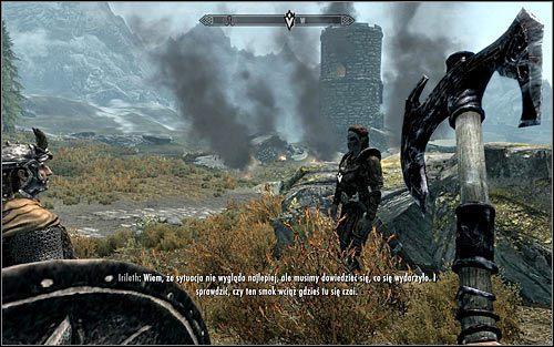 Zachodnia wie�a stra�nicza, przy kt�rej zauwa�ono smoka znajduje si� oczywi�cie poza Bia�� Grani� i mo�esz si� zachowa� na dwa zasadnicze sposoby, a mianowicie wyruszy� tam w pojedynk�, b�d� te� uda� si� w to miejsce nie oddalaj�c si� zbytnio od Irileth - Pokonanie smoka - Budzenie smoka - The Elder Scrolls V: Skyrim - g��wny w�tek fabularny - poradnik do gry