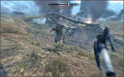 Wkr�tce powinien do Ciebie podbiec stra�nik Bia�ej Grani, stwierdzaj�c, i� wedle jego spostrze�e� jeste� Smoczym Dzieci�ciem, kt�re potrafi u�ywa� mocy Krzyku - Pokonanie smoka - Budzenie smoka - The Elder Scrolls V: Skyrim - g��wny w�tek fabularny - poradnik do gry