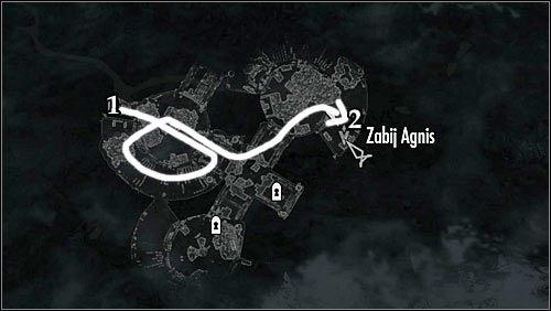 Oznaczenia na mapie: 1 - Miejsce startu; 2 - Kwatera Agnis - Zlecenie- Zabij Agnis   Zadania Mrocznego Bractwa - The Elder Scrolls V: Skyrim - poradnik, mapy, questy