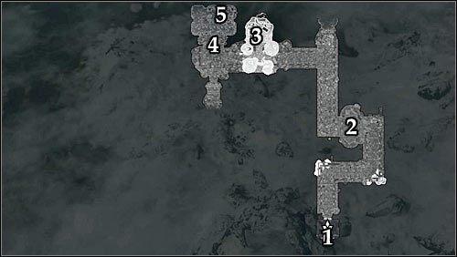 Oznaczenia na mapie: 1 - Wejście do ruin; 2 - Pierwsze obozowisko bandytów; 3 - Drugie obozowisko bandytów; 4 - Wejście do pokoju Malurila; 5 - Miejsce pobytu Malurila - Zlecenie- Zabij Malurila | Zadania Mrocznego Bractwa - The Elder Scrolls V: Skyrim - poradnik, mapy, questy