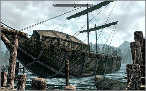 Po dotarciu do celu podróży zlokalizuj jednostkę pływającą, która dowodzona jest przez Safię, czyli Czerwoną Falę (powyższy screen) - Zlecenie- Zabij Safię | Zadania Mrocznego Bractwa | Solucja Skyrim - The Elder Scrolls V: Skyrim - poradnik, mapy, questy