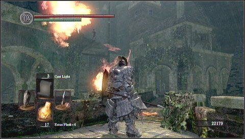 Najlepiej podbiec do przodu, wejść do komnaty i wybiec z powrotem przed most - Undead Burg (2) - Opis przejścia - Dark Souls - poradnik do gry