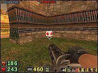 Sekret #3: Kiedy dotrzesz do miejsca, w którym mur wylatuje powietrze i wychodzą z wnętrza kwadratowego pomieszczenia Biomechanoidy, załatw wszystkie gady i wejdź do środka - Misja 4: Serpent Yards - Serious Sam: Drugie Starcie - poradnik do gry