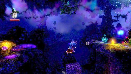 Po przebrnięciu przez przejście użyj czaru, aby zrzucić na dół butlę z doświadczeniem stojącą na grzybie na górze - Początek Opowieści - Opis przejścia gry - Trine 2 - poradnik do gry