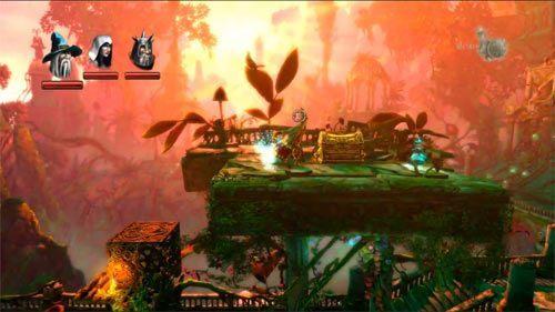 Z prawej znajduje się plująca magicznymi kulami roślina - Zapomniana Dzicz (1) - Opis przejścia gry - Trine 2 - poradnik do gry