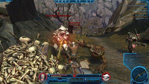Niezależnie od tego, co masz wykonać, oba przedmioty (małe sadzawki z czerwoną substancją do zniszczenia lub zbiorniki z substancją, czyli Flesh Raider Elixir) znajdziesz w wielu miejscach w The Hollows, również w jaskiniach na północy i południu (niektóre punkty zostały oznaczone na mapie poradnika - (L04) Strength of the Flesh Raiders | Tython - Star Wars: The Old Republic - poradnik do gry