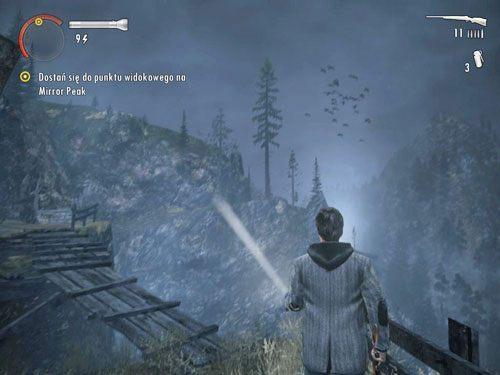 Na niebie pojawią się ptaki, a na Twoją ścieżkę składają się drewniane, spróchniałe kładki, które lada chwila mogą się zarwać - Mirror Peak (3) - Odcinek 3- Okup - Alan Wake - PC - poradnik do gry