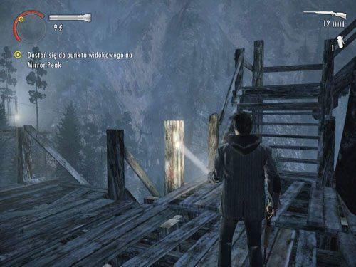 Wyjdź po drabinie na górę i kopnij znajdujące się tam deski - Mirror Peak (3) - Odcinek 3- Okup - Alan Wake - PC - poradnik do gry