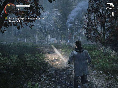 Dojdziesz do ruin, w których znajdziesz karabin myśliwski i amunicję do niego - Mirror Peak (4) - Odcinek 3- Okup - Alan Wake - PC - poradnik do gry