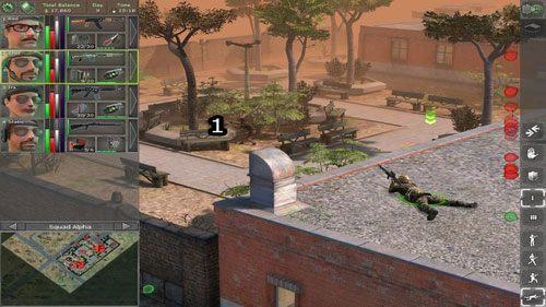 Po zabiciu wszystkich przeciwników na dachu, zaczynamy wybijać przeciwników znajdujących się w okolicy Uniwersytetu (1) - Na dobry początek - Uniwersytet - Lokacje - Jagged Alliance: Back in Action - poradnik do gry