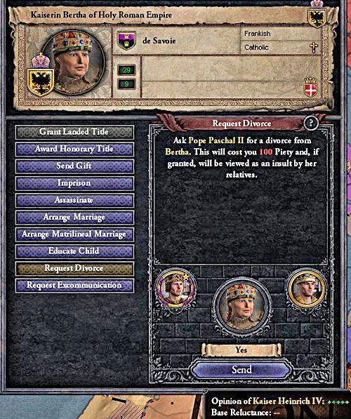 Każdy ślub trzeba dobrze przemyśleć - papież rzadko zgadza się na rozwody. - Mariaże w Crusader Kings II | Ród i Dziedziczenie - Crusader Kings II - poradnik do gry