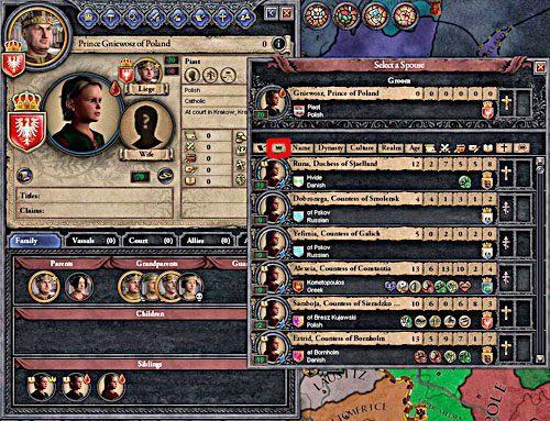 Podczas doboru małżonków można wspomóc się filtrami - najlepiej tymi, które szeregują postaci wedle ich znaczenia (screen powyżej). - Mariaże w Crusader Kings II | Ród i Dziedziczenie - Crusader Kings II - poradnik do gry