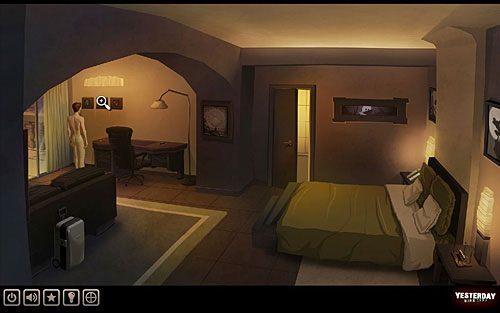 Przyjrzyj się dość niesamowitym obrazom na ścianach, szczególnie trzem wiszącym w jednej linii nad biurkiem po lewej - Odkryj przyczynę niepokoju Johna - Paryż - hotel Dore - Yesterday - poradnik do gry