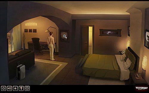 Rzuć również okiem na obraz na kolumnie (pomiędzy biurkiem a drzwiami do łazienki) - Odkryj przyczynę niepokoju Johna - Paryż - hotel Dore - Yesterday - poradnik do gry