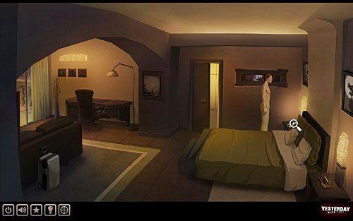 Przejdź do stojącego na szafce przy łóżku (po prawej) telefonu i zadzwoń do recepcji (warto również zadzwonić do Henry'ego i matki) - Odkryj przyczynę niepokoju Johna - Paryż - hotel Dore - Yesterday - poradnik do gry