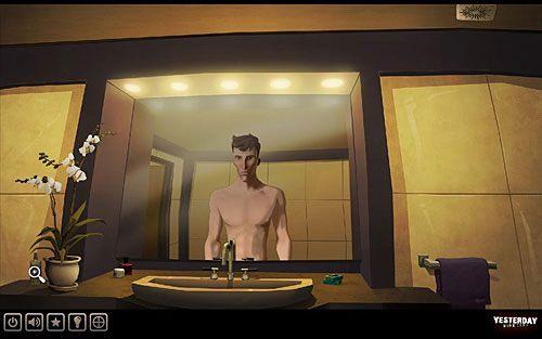 Wejdź do łazienki (uchylone drzwi w centrum ekranu) - Odkryj pierwsze słowo hasła - Paryż - hotel Dore - Yesterday - poradnik do gry
