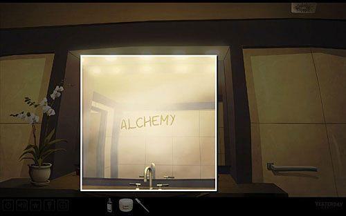 Odkręć kurek z gorącą wodą (lewy) i odczytaj napis na lustrze (alchemia) - Odkryj pierwsze słowo hasła - Paryż - hotel Dore - Yesterday - poradnik do gry