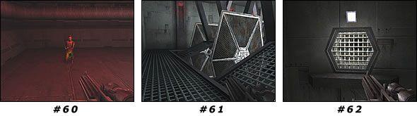 Zauważ naruszoną kratę z boku [#62] - strzel w nią, aby odkryć tunel - Misja 04: Artus Detention Area - Star Wars Jedi Knight II: Jedi Outcast - poradnik do gry
