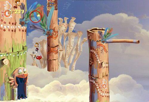 Dalej nie zapomnij zebrać LK wybijając się z platformy, a następnie od ściany (zaraz po trzech przeciwnikach w postaci czerwonych ptaków) - Podniebna sonata (300 L, 2:50); Bez odwrotu (175 L) - Pustynia Dijirdów - Rayman Origins - poradnik do gry