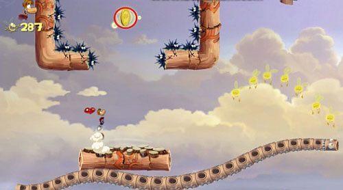 Za drzwiami z okiem czeka na Ciebie ostatnia klatka z E, którą będziesz mógł zniszczyć, po pozbyciu się wszystkich przeciwników - Podniebna sonata (300 L, 2:50); Bez odwrotu (175 L) - Pustynia Dijirdów - Rayman Origins - poradnik do gry
