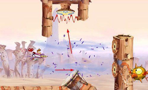 Na swojej drodze spotkasz też tarcze, których ostrzelanie rozświetli Ci okolicę i otworzy dalszą drogę - Nie strzelaj tyle (300 L); Rzępolony pościg - Pustynia Dijirdów - Rayman Origins - poradnik do gry