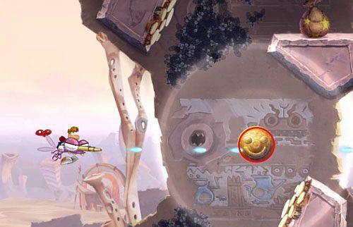 Dalej dotrzesz do lodowej części poziomu gdzie niszcz lodowe filary, by otrzymać dostęp do Żalumek - Nie strzelaj tyle (300 L); Rzępolony pościg - Pustynia Dijirdów - Rayman Origins - poradnik do gry