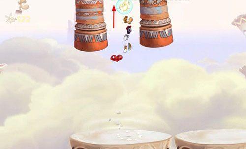 Na następnym bębnie zrób dokładnie to samo, by dotrzeć do S w butelce - Wiatr albo przewóz (300 L, 2:20) - Pustynia Dijirdów - Rayman Origins - poradnik do gry
