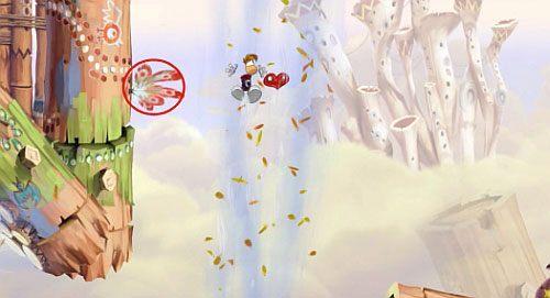 Ponownie korzystając z szybowania dostań się do M oraz bujawki, która da Ci dostęp do platformy z przejściem do ukrytego pomieszczenia z E - Wiatr albo przewóz (300 L, 2:20) - Pustynia Dijirdów - Rayman Origins - poradnik do gry