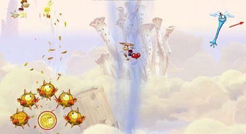 Za drzwiami , po skoku z atakiem na bęben do którego dostaniesz się niszcząc most, będziesz mógł zebrać 7 L - Wiatr albo przewóz (300 L, 2:20) - Pustynia Dijirdów - Rayman Origins - poradnik do gry
