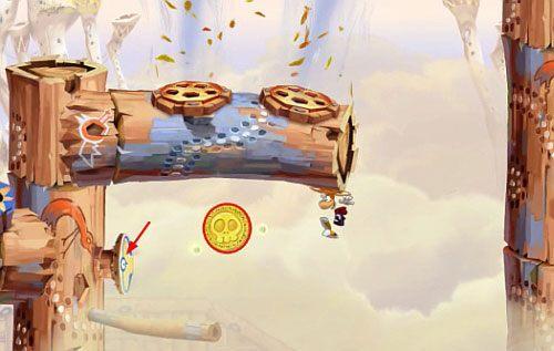 Przed drzwiami z okiem znajdziesz Żalumek (2 L), do którego dostaniesz się niszcząc most - Wiatr albo przewóz (300 L, 2:20) - Pustynia Dijirdów - Rayman Origins - poradnik do gry