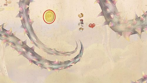 Dalej szybując przez roślinkę, wokół której krążą przeciwnicy, uwolnisz LK - Wiatr albo przewóz (300 L, 2:20) - Pustynia Dijirdów - Rayman Origins - poradnik do gry