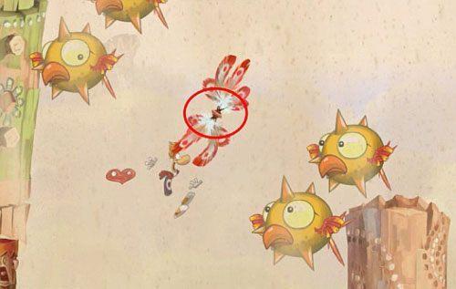 Za drzwiami z okiem znajdziesz ostatnią klatkę z E, której zniszczenie zakończy poziom - Wiatr albo przewóz (300 L, 2:20) - Pustynia Dijirdów - Rayman Origins - poradnik do gry