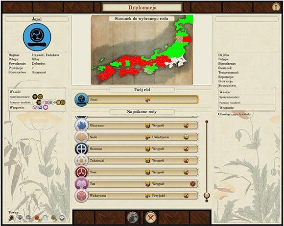 Nasze ziemie zaznaczono kolorem białym, wrogów czerwonym a przyjaciół, zielonym. - Dyplomacja - Total War: SHOGUN 2 - Zmierzch Samurajów - poradnik do gry
