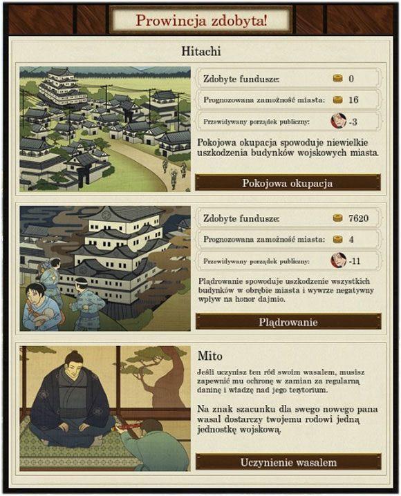 To pierwsze rozwiązanie ma szansę powodzenia, jeśli taki ród chyli się ku upadkowi i jest za słaby na samodzielną obronę - Dyplomacja - Total War: SHOGUN 2 - Zmierzch Samurajów - poradnik do gry
