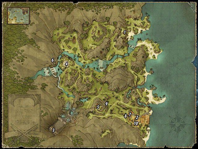 Kiedy dotrzesz na Wybrzeże Ostrzy, czeka Cię przeprawa przez dżunglę w stronę wieży [#1], która góruje nad okolicą - Broń tytanów - Zadania - Wybrzeże Ostrzy - Risen 2: Mroczne wody - poradnik do gry