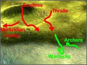 Zwab wrogie wojsko nad rzekę, niech przed nią stoją w gotowości łucznicy i magowie - Misja 4 - The Pack-Mage - Myth III: Era Wilka - poradnik do gry