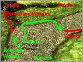 Kontynuując wędrówkę natrafisz na jednego Myrkridian Huntera i kilku Warriorów - ponieważ jest ich mniej i w dodatku dobiegać będą po kolei, bez trudu ich wykończysz - nie używaj nawet łuczników ani maga - Misja 3 - Journey To Llancarfan - Myth III: Era Wilka - poradnik do gry