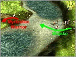 Przejdziesz na wyspę drugim przejściem, zacznij gonić jednego Myrkridian Warrior - Misja 3 - Journey To Llancarfan - Myth III: Era Wilka - poradnik do gry