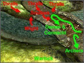 Postaw maga na szczycie wzgórza, razem z Heron Gurdami - Misja 3 - Journey To Llancarfan - Myth III: Era Wilka - poradnik do gry