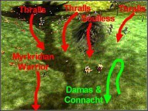 Poczekaj, aż jeden Myrkridian Warrior (druga strzałka od lewej) przybiegnie, spokojnie go zabijesz - Misja 3 - Journey To Llancarfan - Myth III: Era Wilka - poradnik do gry