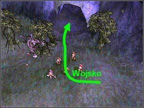 Dotrzesz do wejścia do gniazda, z charakterystyczną skórą powieszoną przy wejściu - Misja 2 - The Nest - Myth III: Era Wilka - poradnik do gry