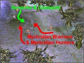 Pierwsza walka nie będzie trudna - wykorzystaj zamieszanie w szykach wrogiego patrolu (2 Myrkridian Warriors, 3 Myrkridian Hunters) i zabij bestie po kolei - Misja 2 - The Nest - Myth III: Era Wilka - poradnik do gry