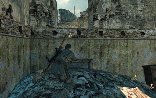 Jeśli chcesz, możesz zabić snajpera - nie jest to jednak konieczne - Misja 3 - Muzeum Kaiser-Friedrich (2) - Sniper Elite V2 - poradnik do gry