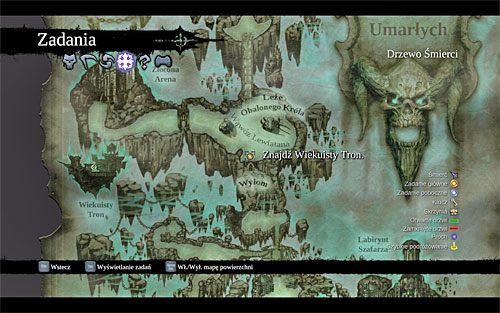 Zacznij od otwarcia mapy świata z zamiarem ustalenia aktualnego celu podróży (powyższy screen) - Znajdź Wiekuisty Tron (1) - Władca Kości - Darksiders II - poradnik do gry