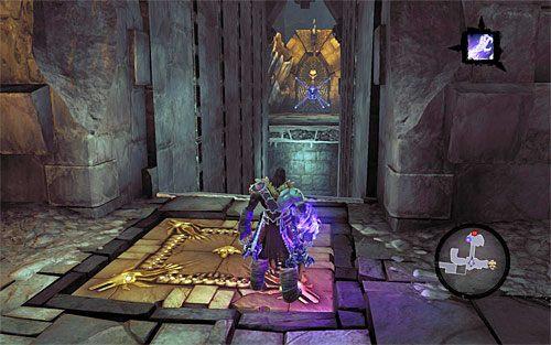Zignoruj zlokalizowaną po prawej stronie skrzynię, bo także do niej nie możesz się chwilowo przedostać - Znajdź Wiekuisty Tron (1) - Władca Kości - Darksiders II - poradnik do gry