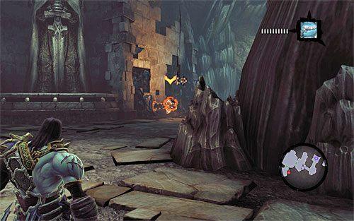 Ustaw się teraz w pokazanym na powyższym screenie miejscu, czyli przy pierwszym moście zwodzonym - Znajdź Wiekuisty Tron (1) - Władca Kości - Darksiders II - poradnik do gry